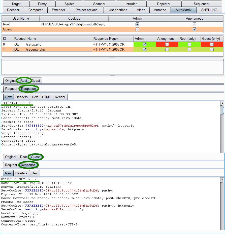 Детали проверки системы ролей плагином AuthMatrix. Все ОK