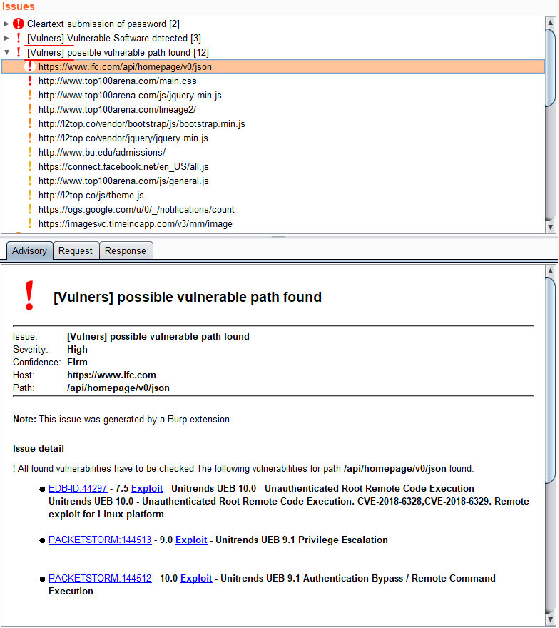 Результат поиска уязвимостей с помощью плагина Vulners Scanner