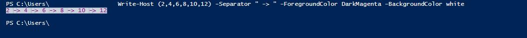 Пример работы командлета Write-Host