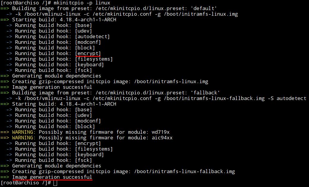 Успешный пересбор initramfs