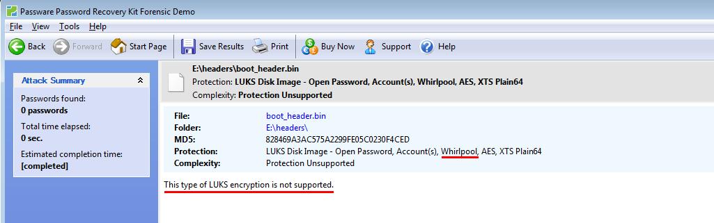 Passware не поддерживает whirlpool