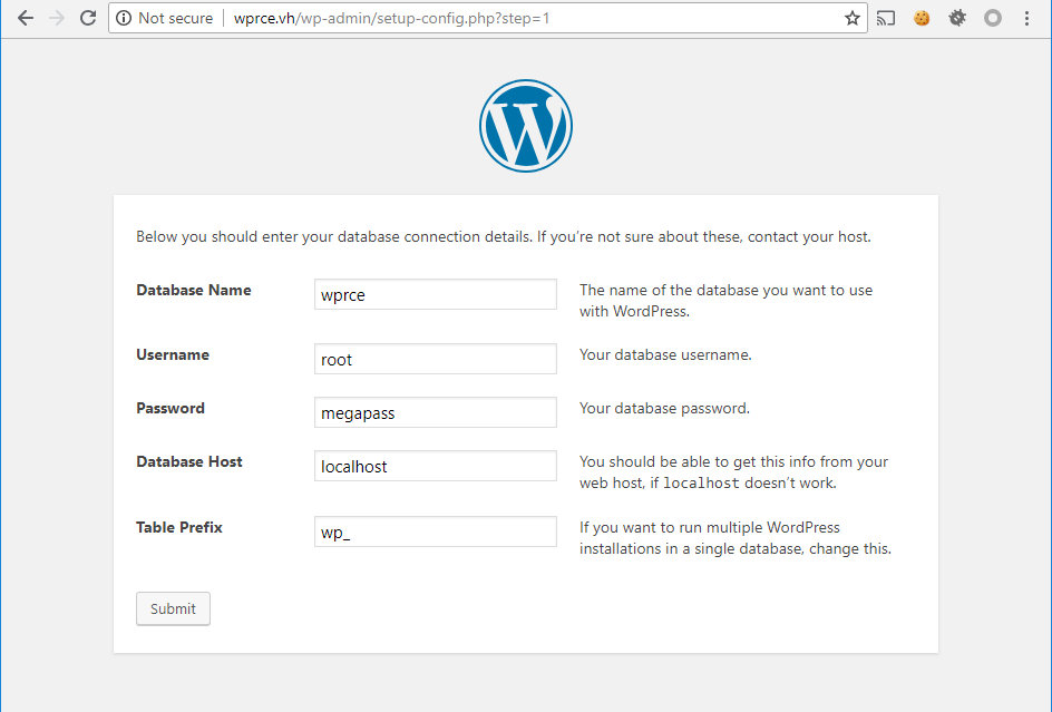 Установка WordPress на стенде