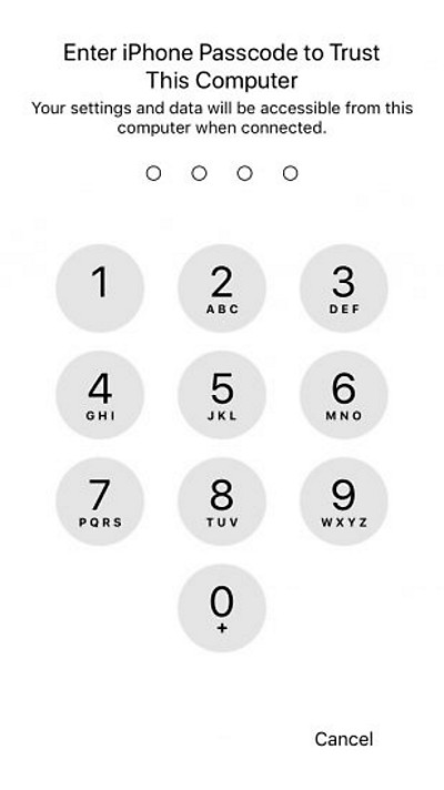 Для установки доверия между iPhone и компьютером в iOS 11 и более новых требуется ввести код блокировки