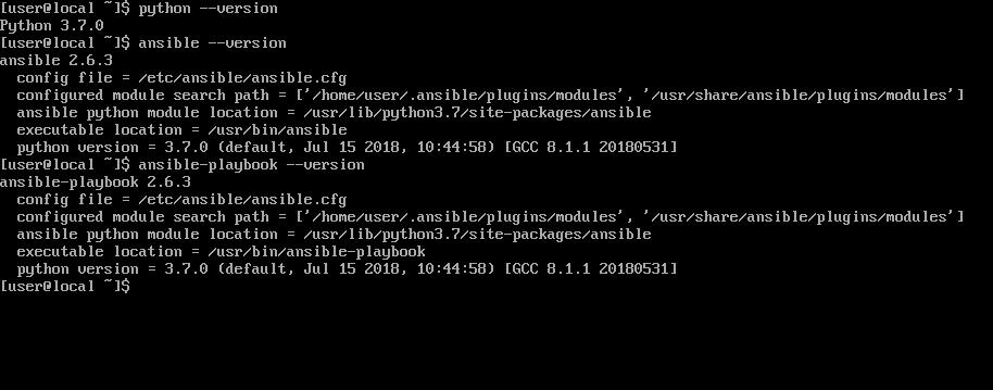 Только что установленный Arch Linux с Python и Ansible через pip. Больше ничего не нужно