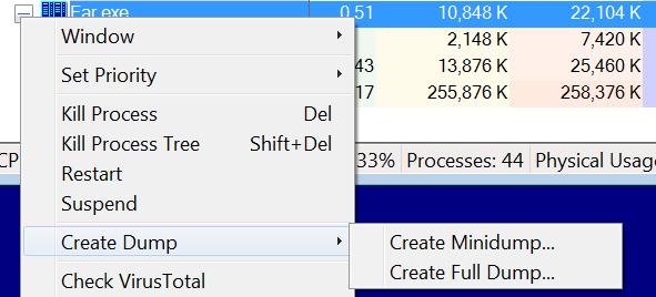 Создание файла MDMP при помощи утилиты Process Explorer