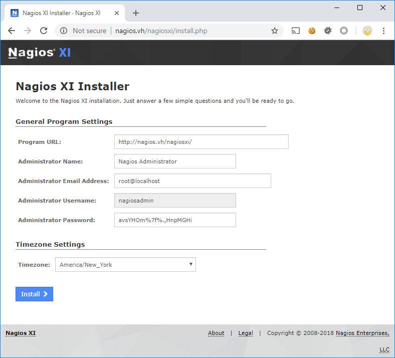 Установка Nagios XI через веб-интерфейс
