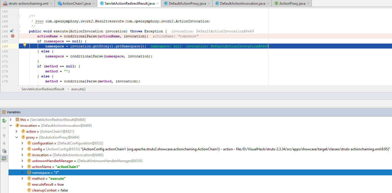 Отладка метода execute класса ServletActionRedirectResult