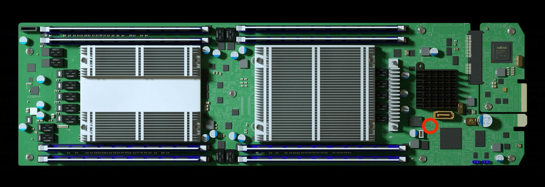 Материнская плата Supermicro, красным отмечен лишний чип