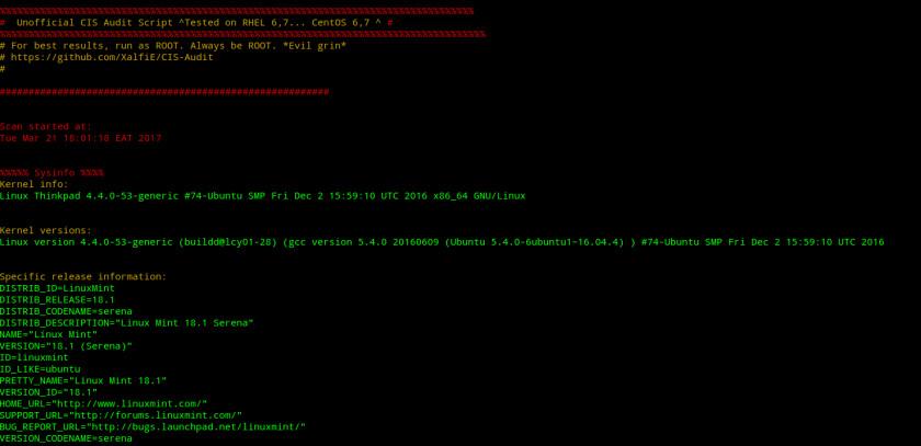 Пример вывода информации после запуска Nix Auditor