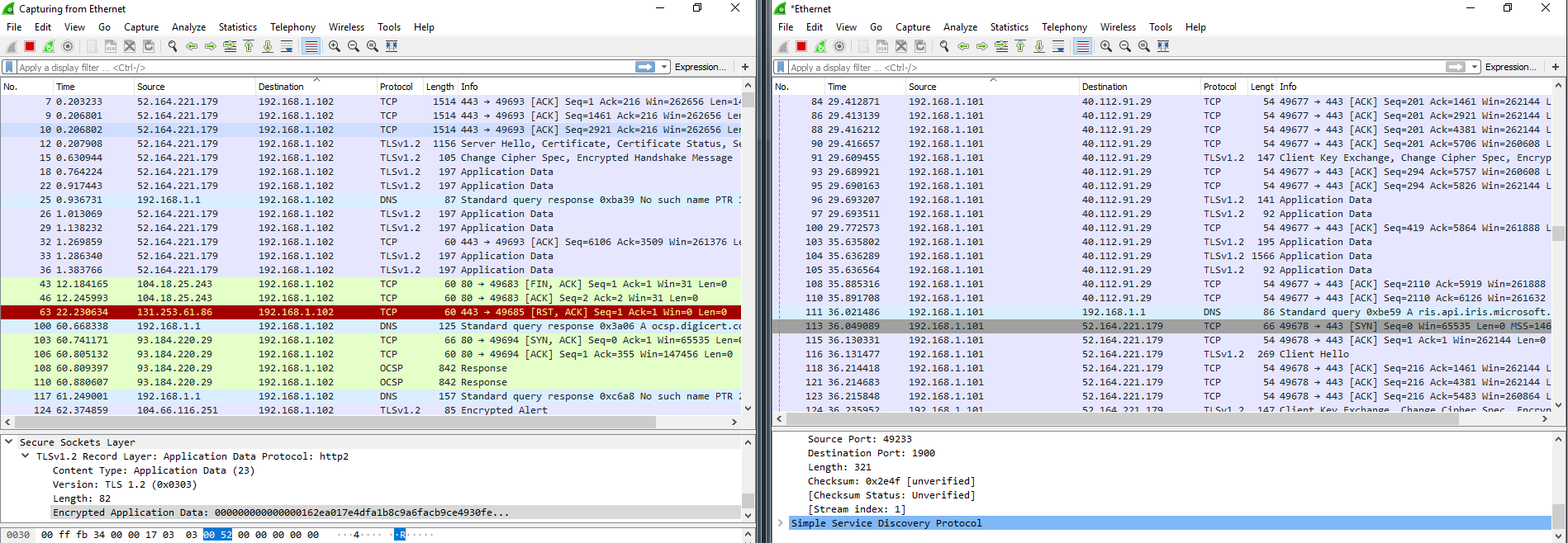 Wireshark dump after the use of DWS