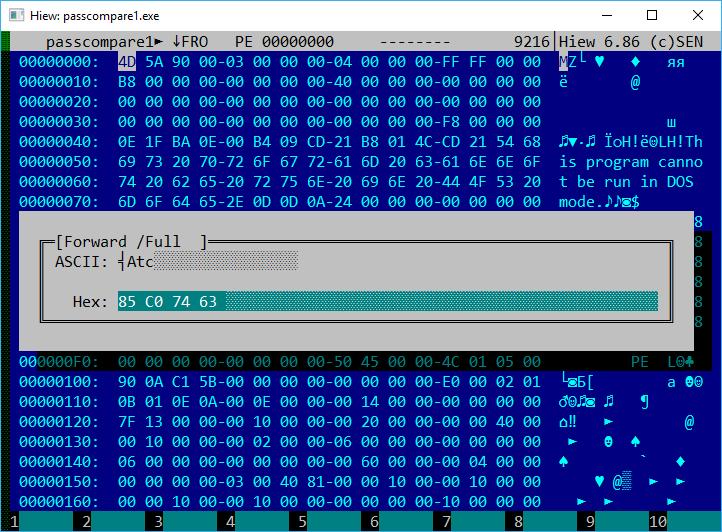 Hiew в режиме правки шестнадцатеричного кода