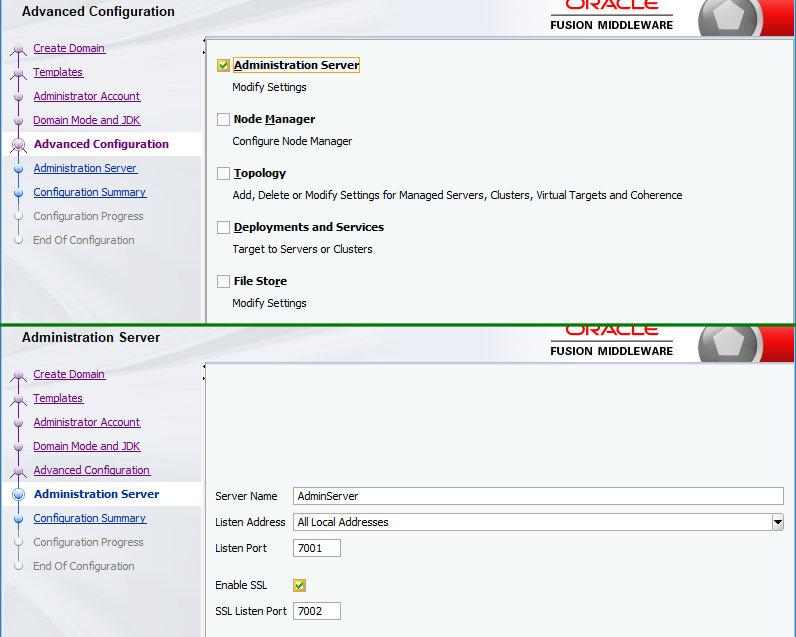 Дополнительные настройки при создании домена WebLogic