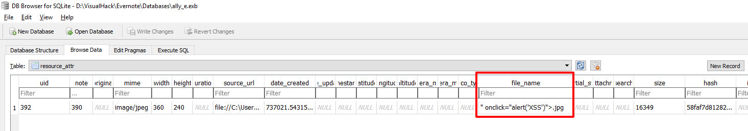 Просмотр таблицы resource_attr после переименования картинки