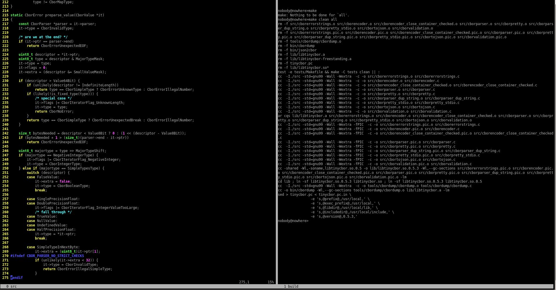 Screen c экраном, разделенным на два региона