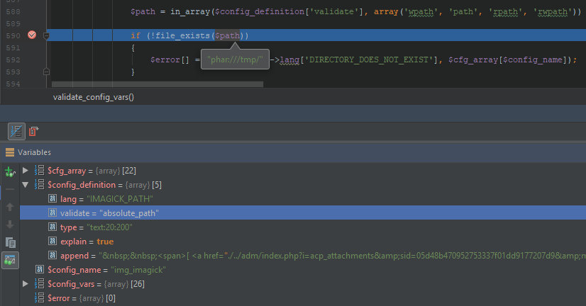 Внедрение враппера phar в аргумент функции file_exists