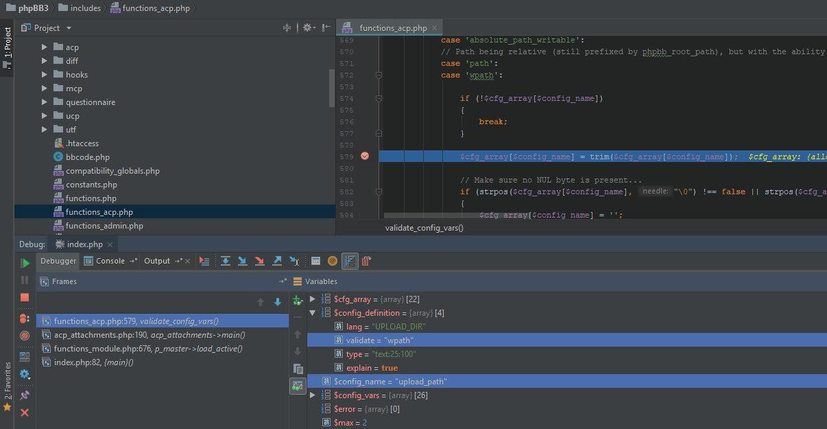 Отладки функции validate_config_vars в phpBB