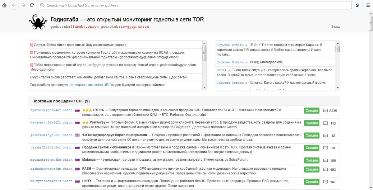 «Годнотаба» мониторит годноту в Tor