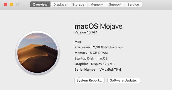 Информация о виртуалке с macOS