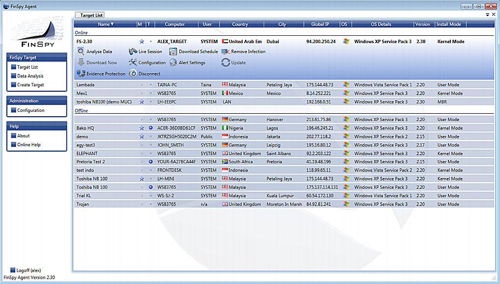 Интерфейс главного окна FinSpy Agent
