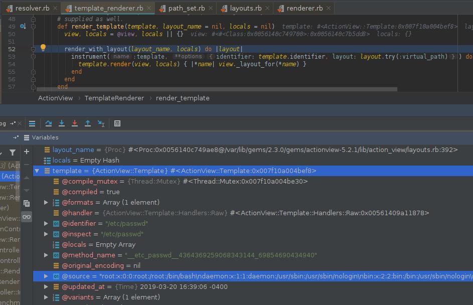 Отладка метода render_template. Файл /etc/passwd используется в качестве шаблона