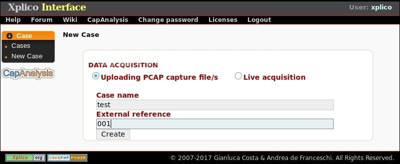 Формирование задания на анализ файла PCAP в Xplico