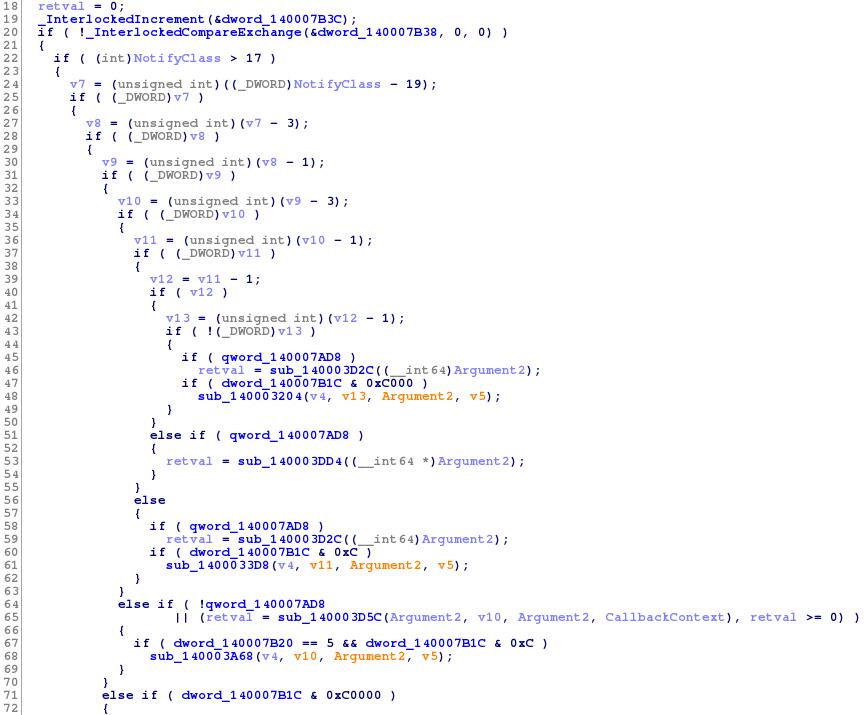Декомпилированный фрагмент фильтрующей функции для реестра из драйвера Symantec DCS: видно, что в некоторых случаях драйвер изменяет возвращаемое значение