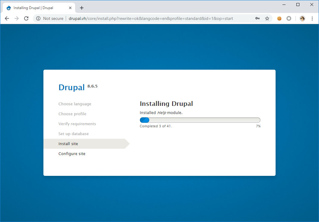 Установка Drupal 8.6.5