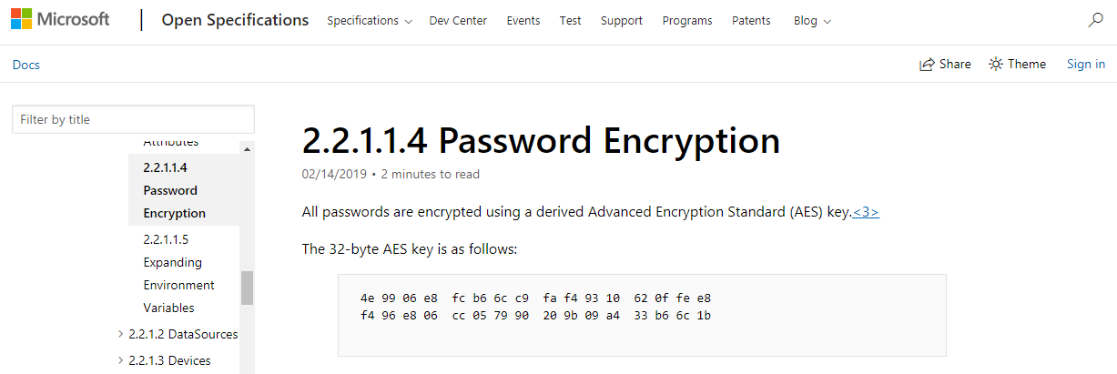 The AES-256 key for encryption of passwords stored in Groups.xml was published on MSDN
