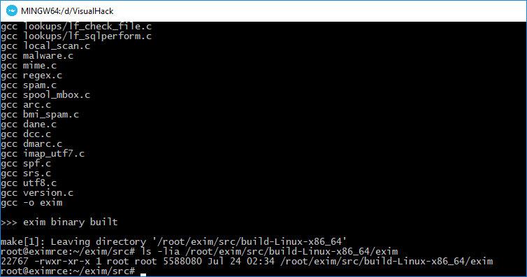 Успешная компиляция Exim 4.91