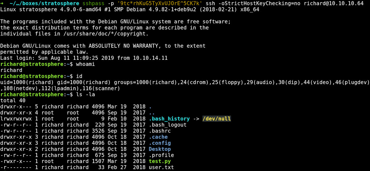 Inside the Stratosphere VM over SSH