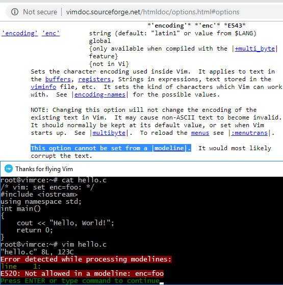 Опция enc недоступна для изменения через modeline