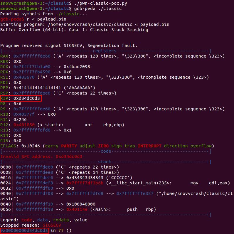 Успешная перезапись RIP «мертвым кодом»