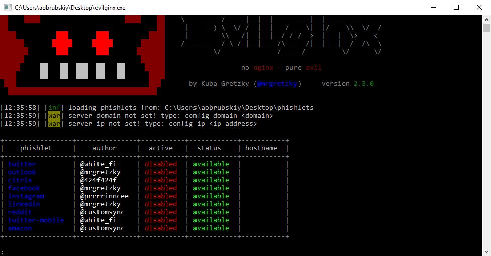 Evilginx 2 в Windows