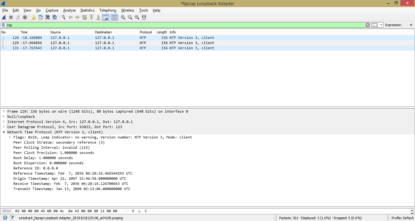 Один из NTP-пакетов, пойманных Wireshark