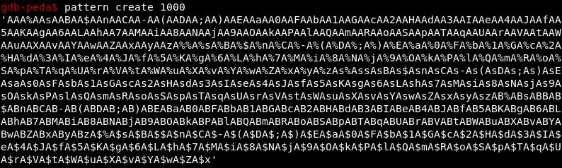 Циклическая последовательность, сгенерированная при помощи GDB PEDA