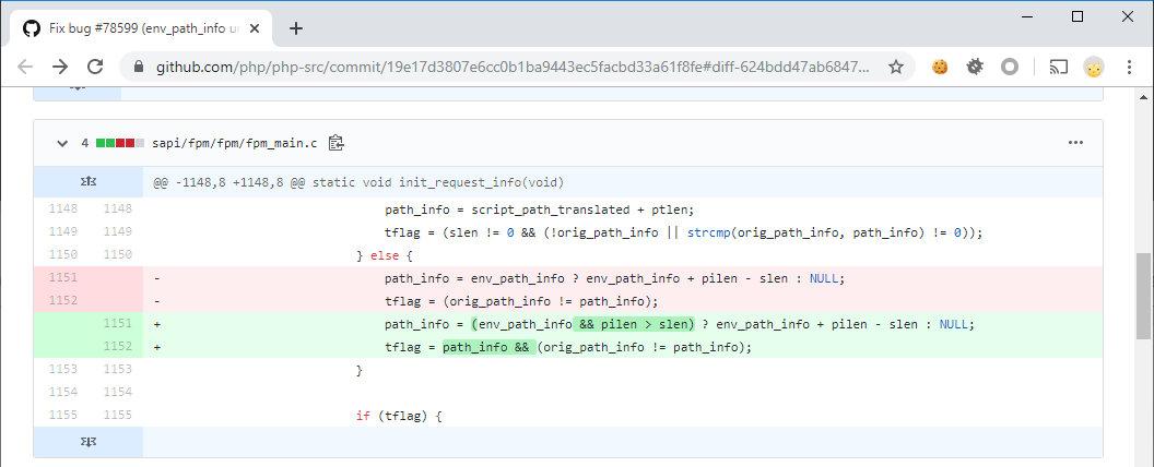 Коммит, который патчит уязвимость CVE-2019-11043 в PHP 7.3.10