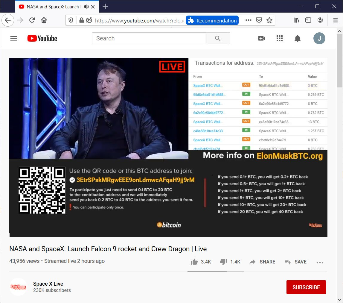 , Fake SpaceX Youtube Channels Defraud 150,000 in Bitcoin