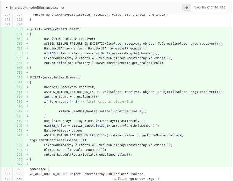 Изменения src/builtins/builtins-array.cc