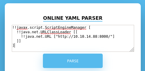 Поиск описанных уязвимостей в Online YAML Parser