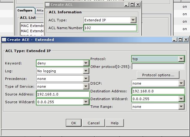 Создание ACL в CNA