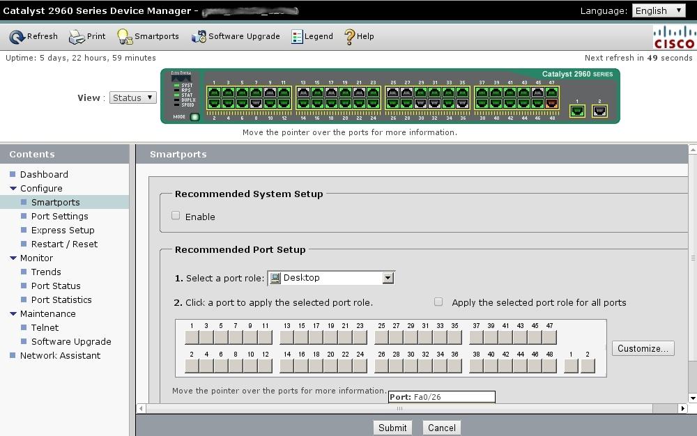 У коммутаторов Cisco есть веб-интерфейс