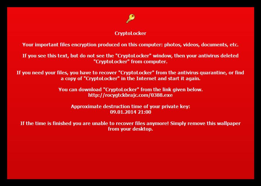 Пугающие обои Cryptolocker'а