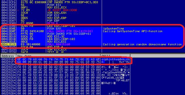 Генерация доменного имени (в нижней части выделено сгенерированное доменное имя olphjvttuqdxm.com)