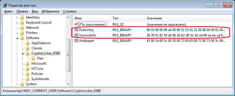 Параметры PublicKey и VersionInfo в реестре